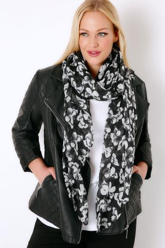 Scarves Black & White Butterfly Print Scarf 152008