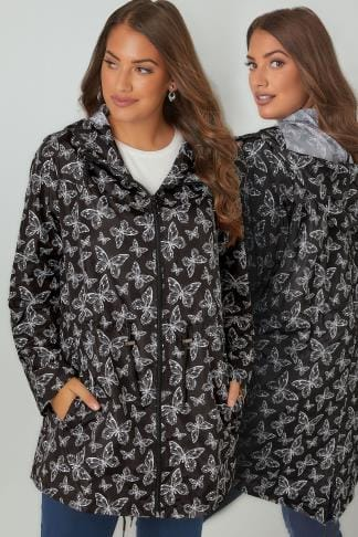 Waterproof & Shower Resistant Jackets Black & White Butterfly Print Shower Resistant Pocket Parka With Hood 120048