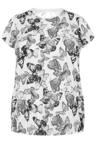 Black & White Butterfly Print Top With Bubble Hem & Lace Insert