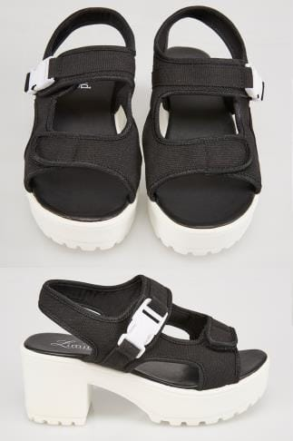 Wide Fit Wedges Black & White Canvas Gladiator Platform Sandal In E Fit 056757