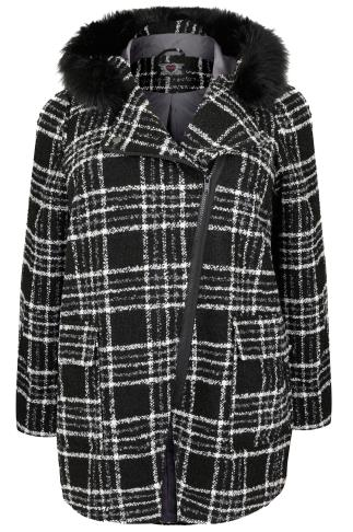 Black & White Check Boucle Coat With Faux Fur Trim Hood
