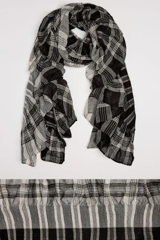 Scarves Black & White Check Elasticated Ruffle Scarf 100114