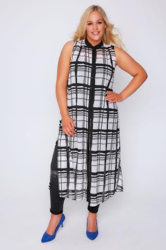 Black & White Check Maxi Length Button Down Sleeveless Shirt