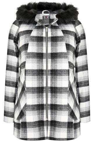 Black & White Check Swing Coat With Faux Fur Trim Hood
