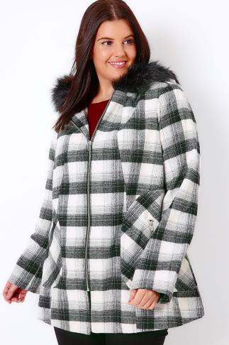 Coats Black & White Check Swing Coat With Faux Fur Trim Hood 101618