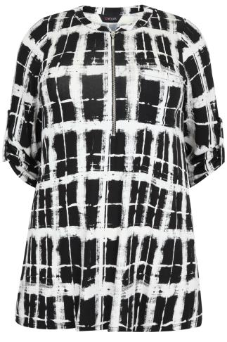 Black & White Check Zip Front Jersey Top With 3/4 Length Sleeves