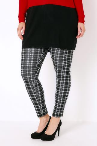 Black & White Checked Knit Leggings With Elasticated Waist