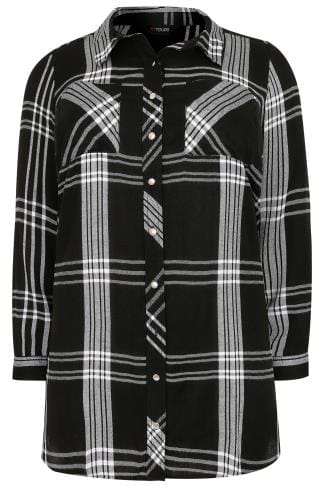 Black & White Checked Longline Boyfriend Shirt With Pockets