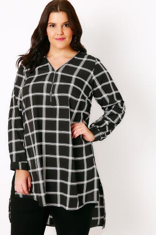 Black & White Checked Print Woven Longline Top