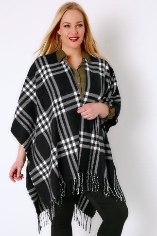 Wraps & Capes Black & White Checked Woven Wrap With Fringing 102544