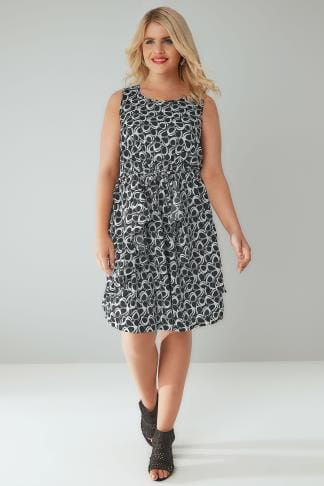 Skater Dresses Black & White Circle Print Sleeveless Dress With Peplum Panels 136010