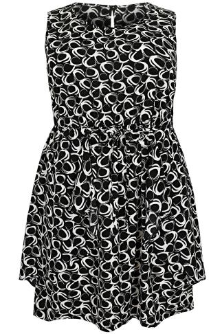 Black & White Circle Print Sleeveless Dress With Peplum Panels