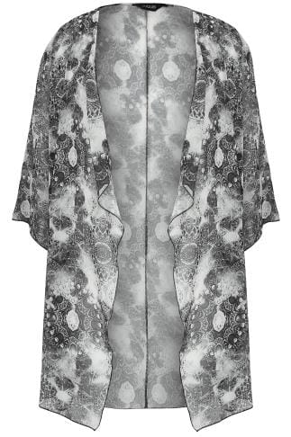 Black & White Circle Tile Print Chiffon Kimono With Waterfall Front