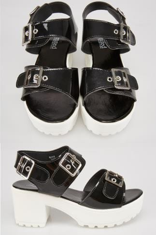 Wide Fit Wedges Black & White Cleated Platform Sandal In E Fit 056755