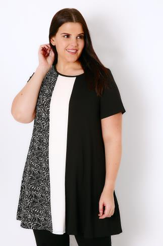Black & White Colour Block Longline Swing Top With Dotty Print Panel 134045