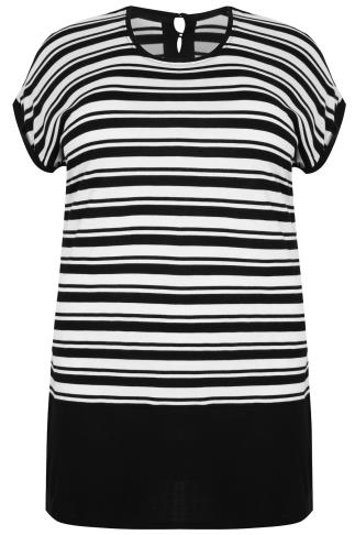 Black & White Colour Block Stripe Top With Short Sleeves