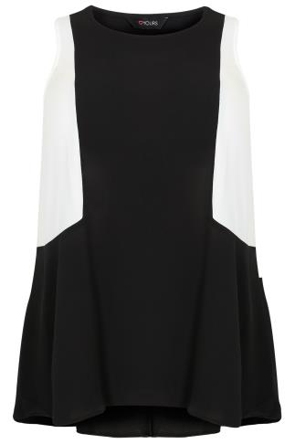 Black & White Colour Block Sleeveless Swing Top