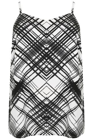 Black & White Cross Hatch Print Cami Top