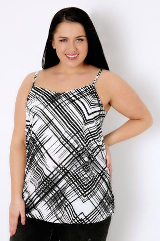 Woven Tops Black & White Cross Hatch Print Cami Top 130001