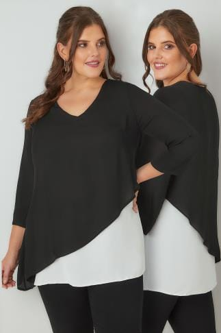 Blouses Black & White Cross Over Blouse 156119