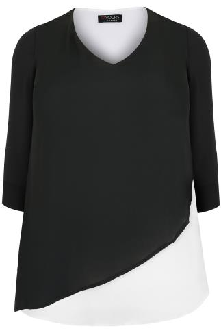 Black & White Cross Over Blouse