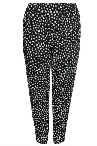 Harem Trousers Black & White Daisy Print Jersey Harem Trousers With Pockets 142079