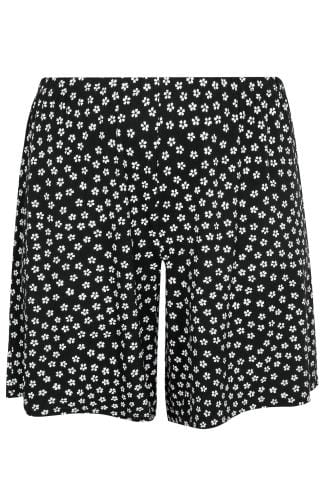 Jersey Shorts Black & White Daisy Print Jersey Pull On Shorts 144063