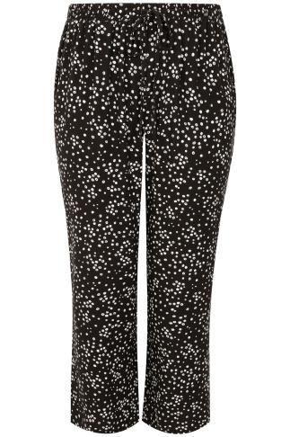 Black & White Dotty Print Palazzo Trousers With Elasticated Waist