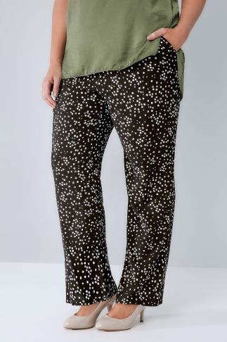 Wide Leg & Palazzo Black & White Dotty Print Palazzo Trousers With Elasticated Waist 142005