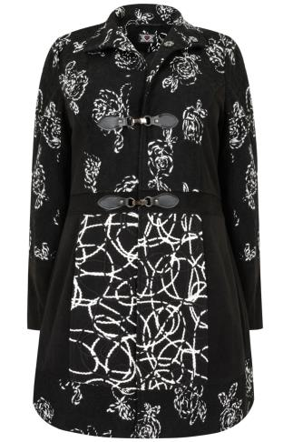 Black & White Embroidered Funnel Neck Coat