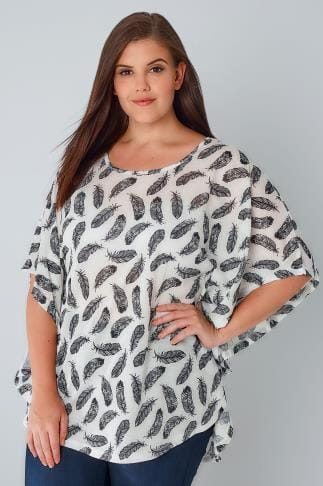 Day Tops Black & White Feather Print Cape Top With Tie Neckline 170225