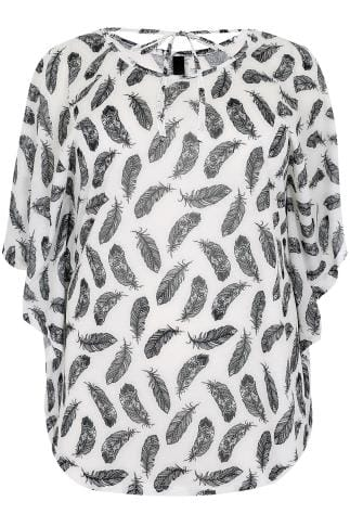 Black & White Feather Print Cape Top With Tie Neckline