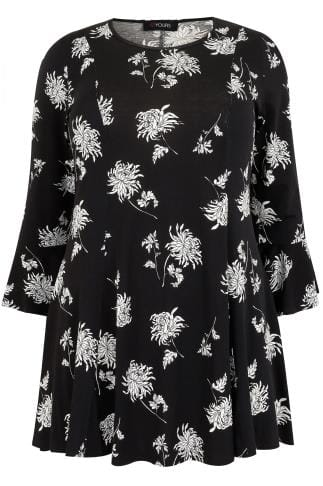 Tops Jersey Élégant Black & White Floral Print Longline Peplum Top With Flute Sleeves 134245