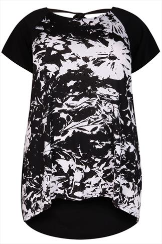 Black & White Floral Print Longline Top With Tie Back