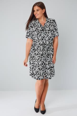 Shirt Dresses Black & White Floral Print Shirt Dress With Waist Tie 170163