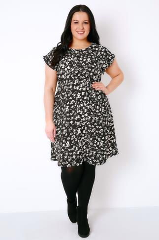 Black & White Floral Print Skater Dress With Short Turn-Back Sleeves