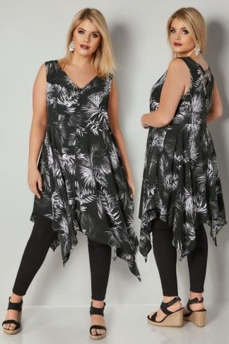 Longline Tops Black & White Floral Print Sleeveless Top With Cross Over Back & Hanky Hem 170360
