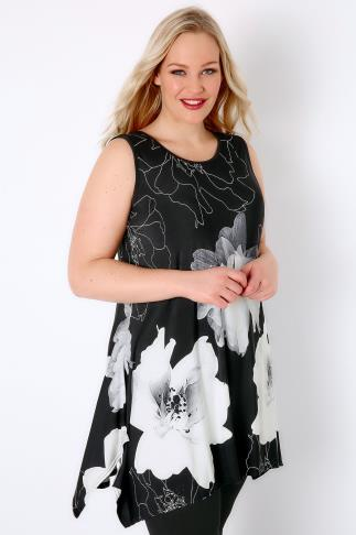 Black & White Floral Print Sleeveless Top With Hanky Hem