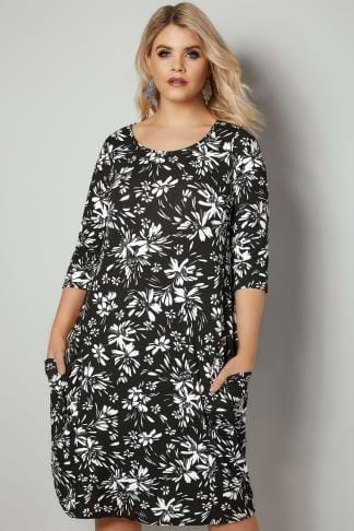 Swing & Shift Dresses Black & White Floral Print Swing Dress With Pockets 136261
