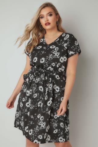 Midi Dresses Black & White Floral Print T-Shirt Dress With Pockets & Elasticated Waistband 136209