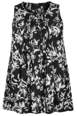 Black & White Floral Longline Top With Front Pockets