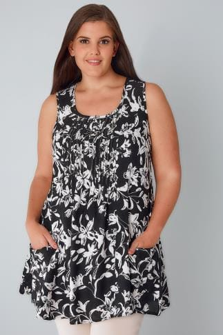 Day Black & White Floral Tunic With Front Pockets 130086
