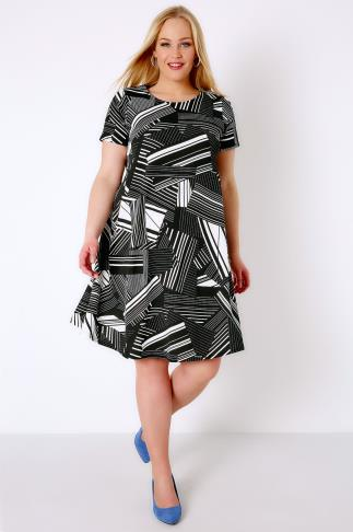 Swing & Shift Dresses Black & White Geo Print Swing Dress 136030