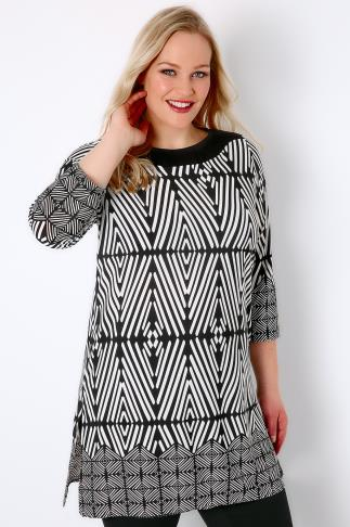Black & White Geo Print Tunic Dress With 3/4 Length Sleeves
