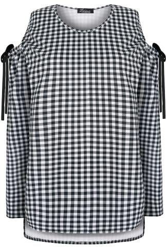 LIMITED COLLECTION Black & White Gingham Cold Shoulder Top With Velvet Bows