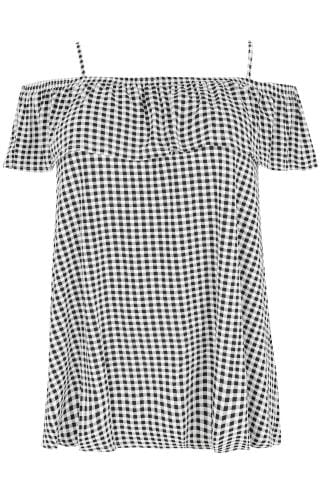 Black & White Gingham Frilled Cold Shoulder Jersey Cami Top
