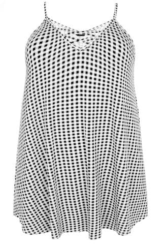 Black & White Gingham Longline Cami Vest Top With Cross Front Detail