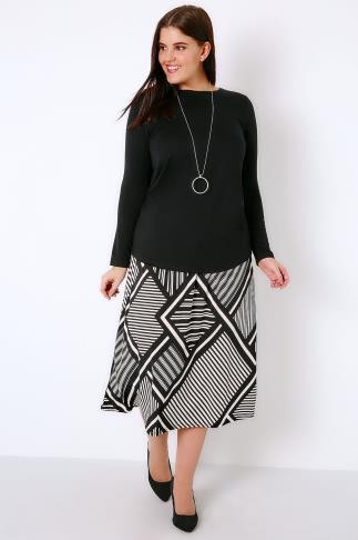 Black & White Graphic Mixed Stripe Print Jersey Midi Skirt 160000