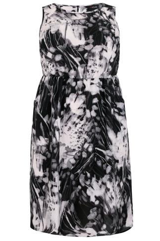 Black, White & Grey Abstract Floral Print Chiffon Dress With Pockets
