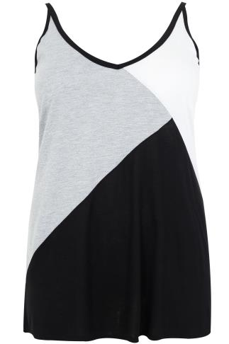 Black, White & Grey Colour Block Jersey Cami Top